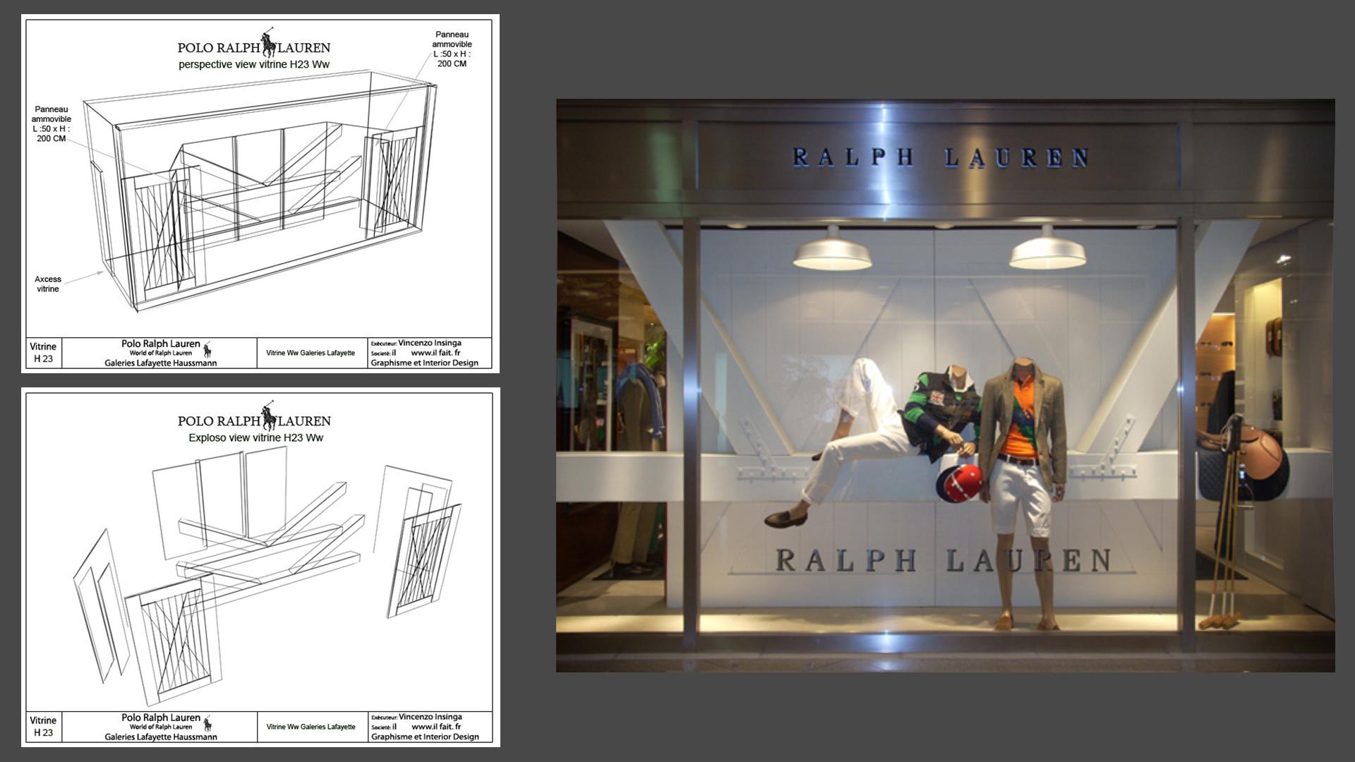 Interior Design, shop window Galerye Lafayette, Ralph Lauren, Parigi